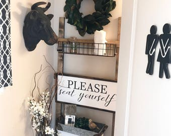 Please Seat Yourself 14x30 / hand painted / wood sign / farmhouse style / rustic