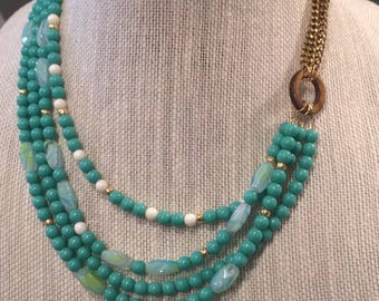 Turquoise Glass and White Multi-strand