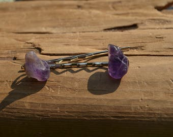 Purple Amethyst Stone Hair Pins (quantity of 2)