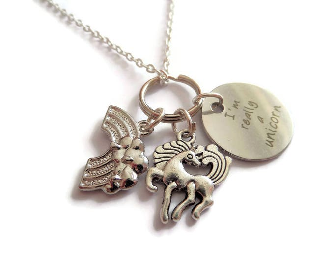 I'm really a Unicorn silver charm necklace,fantasy gift, unicorn gift, unicorn jewellery,rainbow necklace, love unicorns gift,