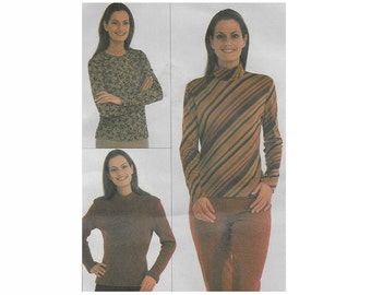 Women's pullover top pattern, Burda 8574, size 8 to 20, collar variations, long sleeve, back zipper, stretch fabrics, PREVIOUSLY CUT