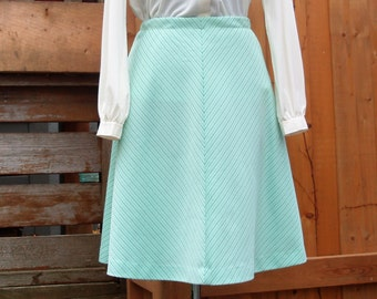 Vintage 1960's Green Striped A-line 100% Polyester Knee Length Skirt