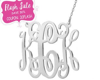 Personalized silver monogram necklace - 1.25 inch pendant select any initial made with 925 Sterling silver