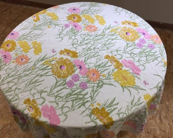 """Vintage White Cotton Round Floral Spring Tablecloth Large Pink Gold Orange Flowers 66"""" Diameter Wide Loop Trim Retro Table Linen Tablecloth"""