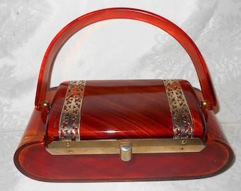 Wow!  Beautiful Amber Lucite Box Purse