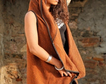 Hooded Vest Orange/brown
