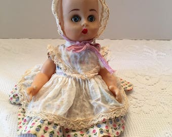 1950's Plastic Doll ~ ATC Made in Japan ~ Small Doll ~Molded Hair ~ Poseable Body ~ Vintage