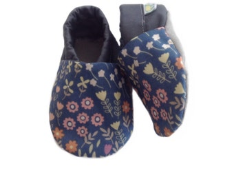Blue Floral Meadow Baby Shoes