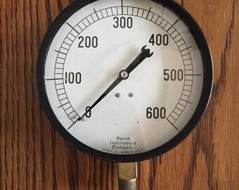Vintage Marsh Instrument Company 600 PSI Pressure Gauge- Steampunk
