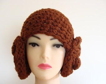 Princess Leia hat, hand crocheted princess Leia cap hat, brown crochet earflap hat, disgust costume hat, unique cap hat