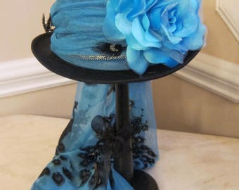 Black Top Hat Stevie Nicks  Inspired - Blue