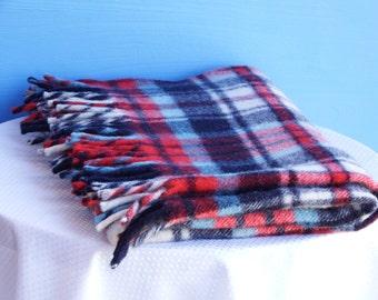 "Vintage Wool Blanket Paris Woolen Mills Lap Stadium Throw Blanket Small Size 46"" X  34"""
