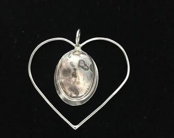 Sterling silver heart pendant with ocean jasper