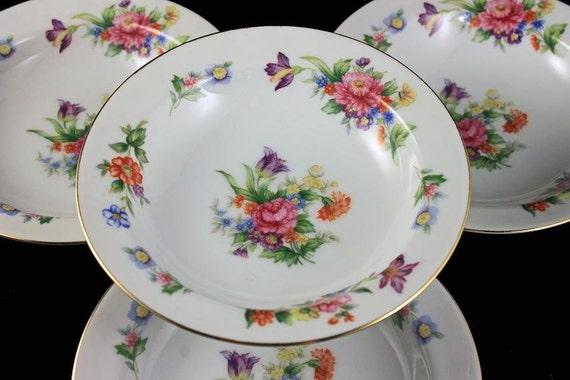 Fruit Bowls, Sango China, Dessert Bowls, Occupied Japan, Floradel, Floral Pattern, Multi-floral, Gold Trim, Set of 4