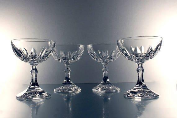 Crystal Coupe Champagne Glasses, Sherbet Glasses, Cut Crystal, Set of 4, Wine Glasses, Barware, Wedding Stemware