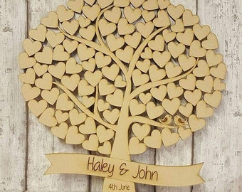 Large Wedding Tree Guest Book, Alternative Wedding Guest Book, Wedding, Wooden Guest Book, Hearts, Rustic, Family Tree Guest Book