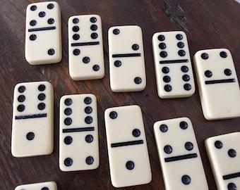 Vintage BAKELITE DOMINOES, Cream & Black Dominoes, Set of 16 Bakelite Dominoes