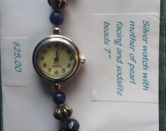 Silver Watch with Sodalite Beads