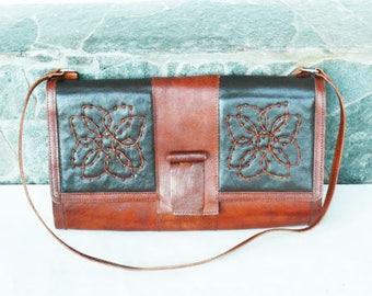 Vintage Evening Cross Body Bag, Vintage black and brown Leather Shoulder Bag, Style Purse, Cross body Messenger Bag, City Bag