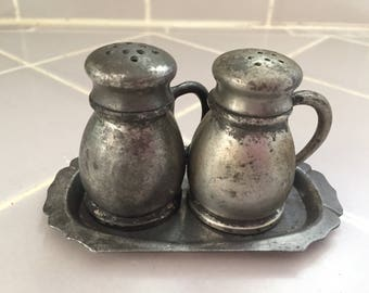 Vintage Federal 200 Pewter Salt and Pepper Shaker With Tray