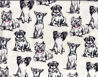Dogs Off White and Black Curtain Valance