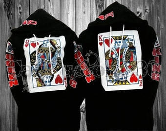 """2 matching """"king of heart"""" and """"queen of heart"""" black hoodies"""