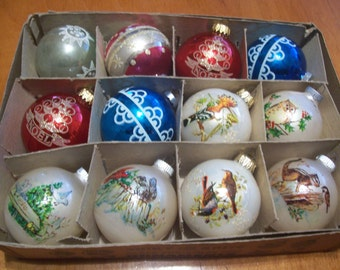 Twelve Assorted Shiny Brite, West Germany, USA Christmas Ornaments