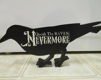 Halloween Decor-Quoth The Raven Nevermore Wood Raven-Fall Decor