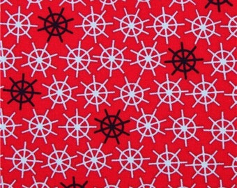 Red Wheels Nautical Sailor Cotton Quilting Fabric, listing for 1 Yard - CJS