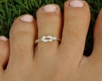 Silver Toe Ring, Silver Knuckle Ring, Silver Adjustable Ring, Silver Knot Ring, Celtic Knot Ring, Love Knot Ring