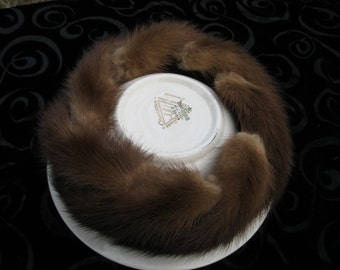 Vintage Mink Hat By Noreen, Made in USA, 1950's mink fashion