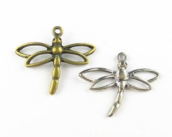 100pcs 26x32mm Dragonfly Charm Pendant Findings MA