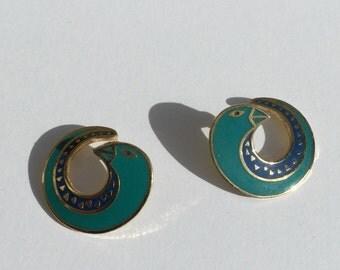 Vintage Laurel Burch bird earrings/ cloisonne