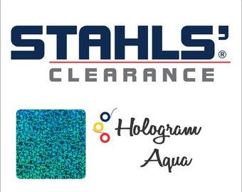 "8"" x 10 Yards - Stahls' Hologram - Craft Roll – Iron-on - Heat Transfer Vinyl - Aqua"