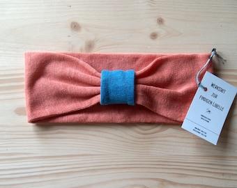 Headband made of 100% hemp Jersey, apricot-sea blue