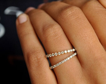Diamond Wedding Band 14k Gold Solid Dainty Engagement