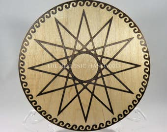 Dodecagram Altar Paten, Maple wood altar tile to honor the twelve Olympian Gods. 12 point star offering plate or trivet, Hellenic Polytheism