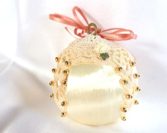 Vintage White Satin Ornament with Doily, Gold Beads and Pink Ribbon