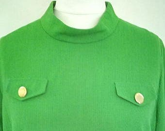 Vintage dress 60s emerald green scooter mod dress size extra large XL