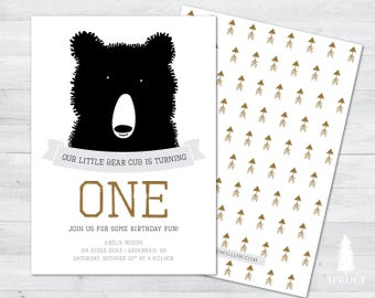 bear birthday invitation, bear invitation, bear birthday, camping invitation, camping birthday invite, camping party birthday invitation,
