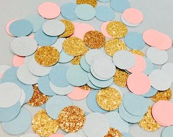 100pc Blue pink and Gold glitter Confetti, glitter confetti, pink confetti, blue confetti, party confetti