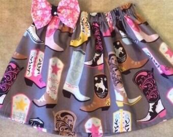 Baby Toddler Girl Cowboy Boot Elastic Waist Twirl Skirt