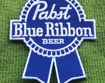 """Iron-On ''Pabst Blue Ribbon Beer'' Embroidered Biker Patch  3''×3 1/2"""""""