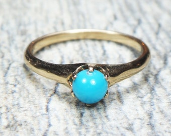 Antique Turquoise Ring 14k Gold Turquoise Ring Antique Gold Ring Blue Stone Ring Victorian Turquoise Ring Blue Turquoise Natural Turquoise