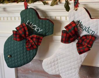 Pet Holiday Stockings || Traditional Personalized Holiday Fish or Bone with Jingle Bell Christmas Stocking || Gift by Three Spoiled Dogs