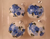 Hand painted 4 glass Christmas ornament; white gloss; cobalt blue flowers