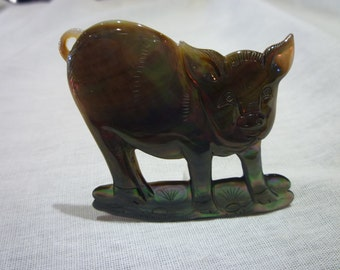 D62 Mother of Pearl Carved Pig.