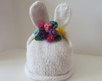 Bunny Hat, Bunny Rabbit Ear Hat, Easter Hat, Knit Hat, Easter Bunny Hat, Baby Bunny Hat, Bunny Hat with Flowers, First Easter Hat, Baby Girl