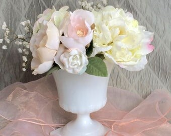 Milk Glass Vase / Planter, Vintage Pedestal E.O.Brody Milk Glass Vase / Planter.