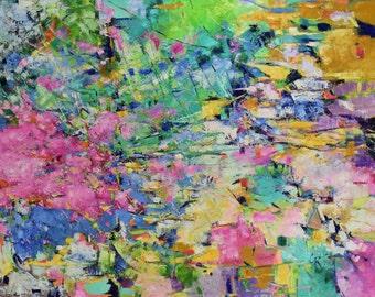 Large abstract oil painting, 36x48 canvas, vivid green, yellow ochre, blue, indigo, cerulean, fuchsia, white, lavender